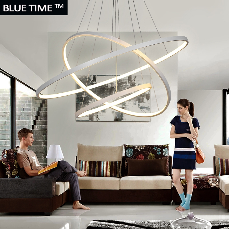 Fashional Super Thin Modern Chandeliers Circle Rings Led