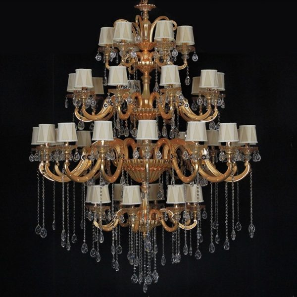Fast Shipping  Newest Arrival Hotel Golden Crystal font b Chandelier b font Lamp With