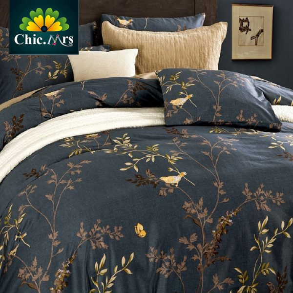 Flower Birds Sanding Egyptian Cotton King Queen Bedding Sets of Density Europe Fashion Deco font b