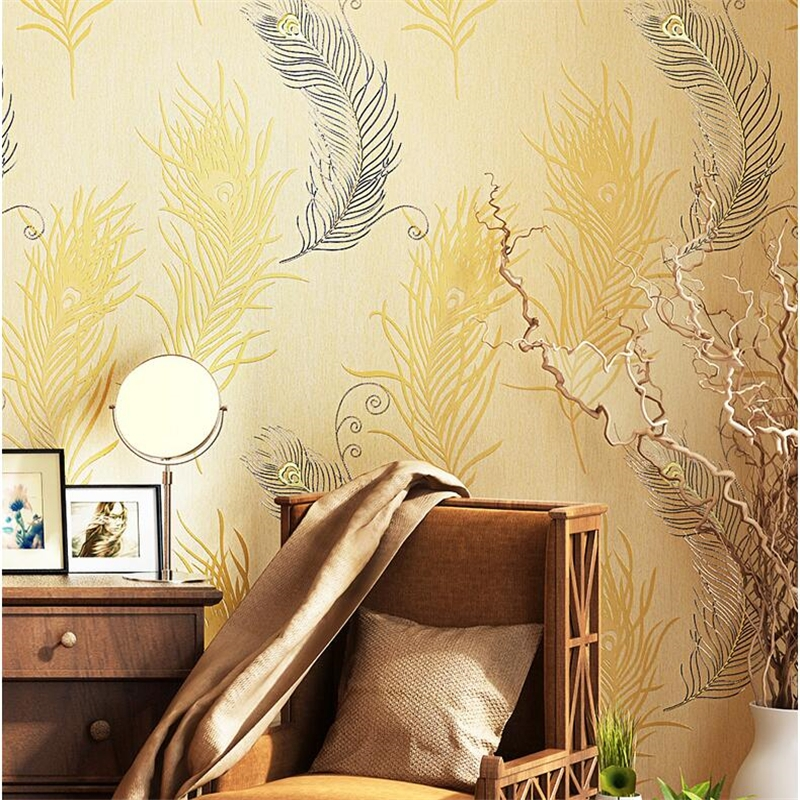 Genuine non-woven imitation embroidery wallpaper 3d stereo relief wallpaper  warm bedroom living room TV backdrop papel de parede