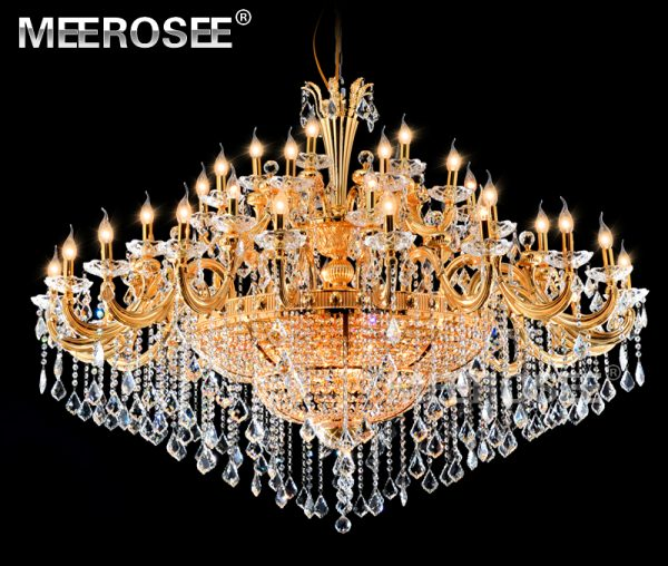 Gorgeous Crystal font b Chandelier b font Light Fixture Classic Golden Hotel Project Large Crystal Lamp