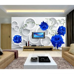 HD Blue Rose D Customized Photo font b Wallpaper b font Flowers Large Wall Mural Home