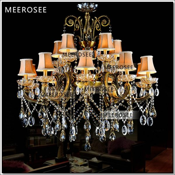 HOT Big crystal font b chandelier b font light fixture antique brass Large suspension lustres font