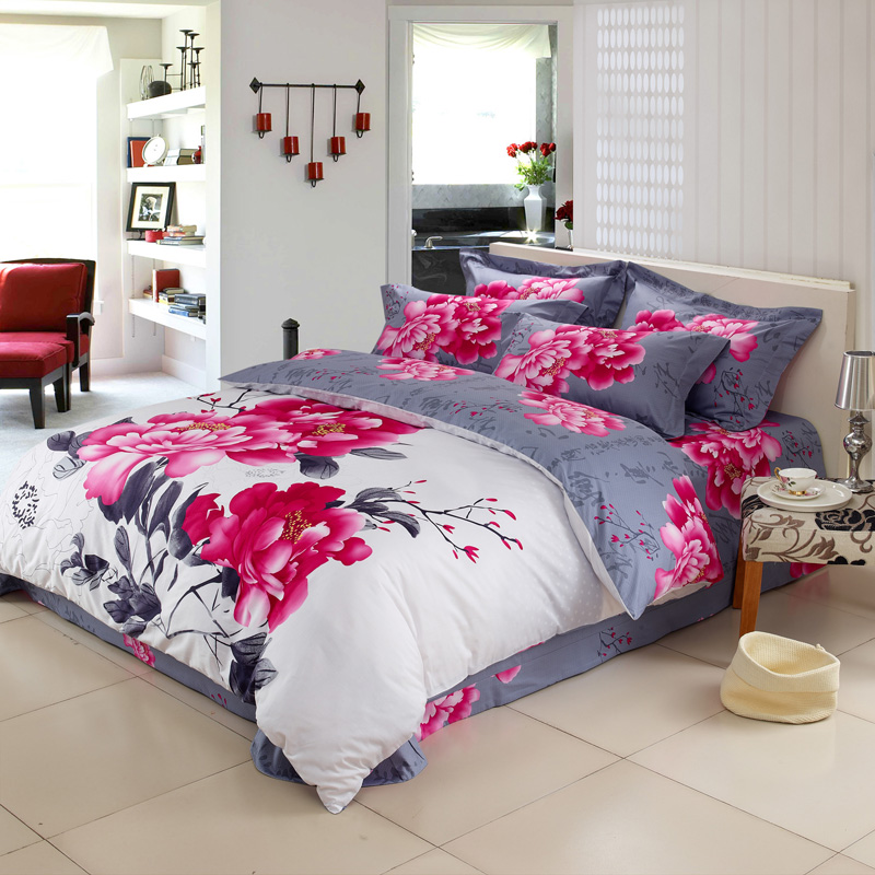 High Quality Cotton Reactive Printing Bedding Set Pillowcase Font B Duvet