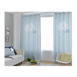 High quality blue cloud cartoon digital print Window Blackout font b Curtain b font for Living