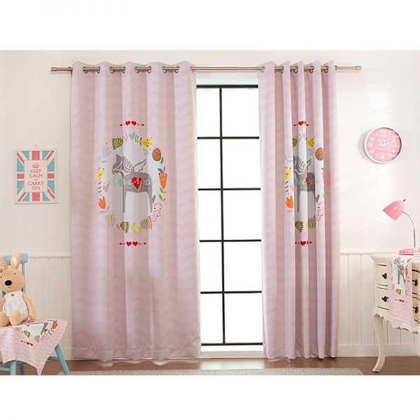 High quality pink cartoon digital print Window Blackout font b Curtain b font for Living Room