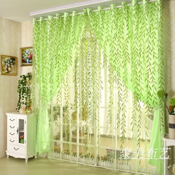Hot  Pastoral Printed Home Decoration organza tulle fabric sheer Panicum blackout font b curtains b