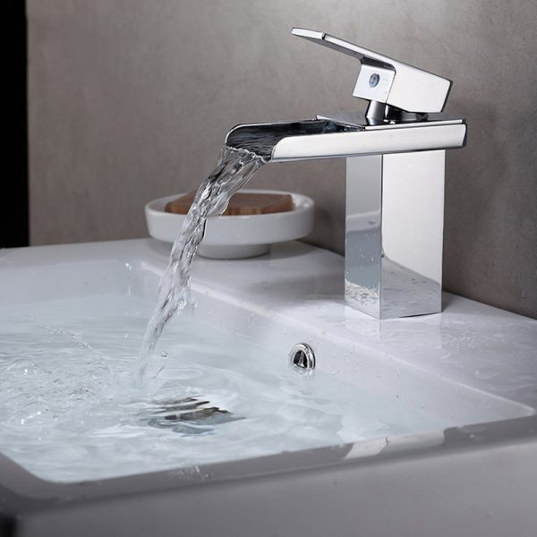 JOOE waterfall font b faucet b font brass hot and cold water mixer tap Chrome font