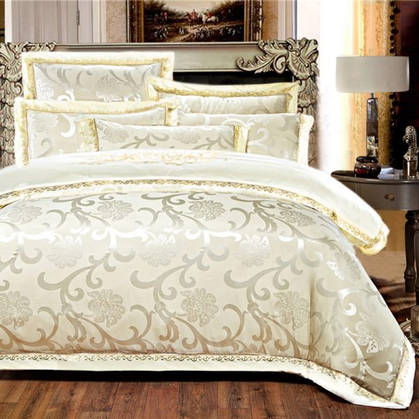 KELUO Luxury Satin Wedding jacquard mulberry silk bedding  cotton Embroideredincluding font b duvet b font