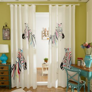 Korean Style Living Room Bedroom font b Curtains b font Cartoon Zebra Design Shade Cloth font
