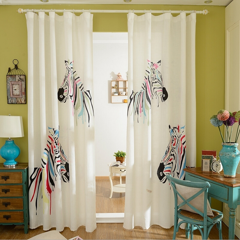 Korean Style Living Room Bedroom Curtains Cartoon Zebra