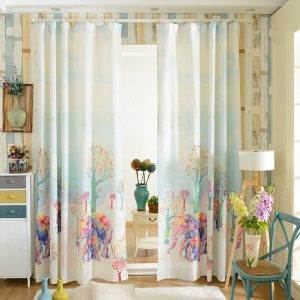 Korean cartoon colorful elephant designer font b curtains b font topsale shade font b curtain b