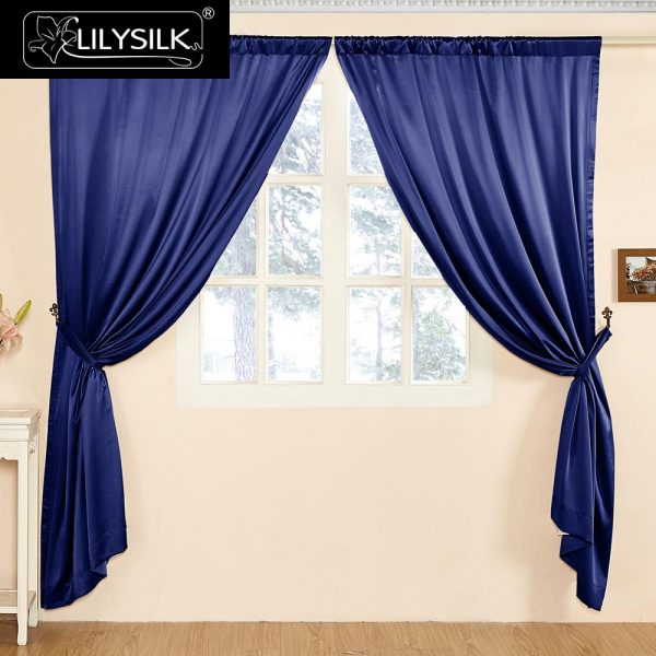 LILYSILK Silk Drapes font b Curtain b font Panels  Momme Classical Windows Living Room Pole