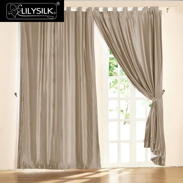 LILYSILK Silk font b Curtain b font  Momme New Classical Living Room Drape Tab Top