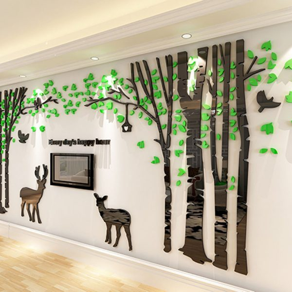 Large Background font b Wall b font font b Stickers b font Tree and Deers Design