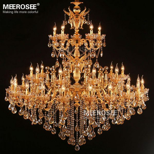 Large Royal Golden Crystal font b Chandelier b font Lamp Lustres Cristal Suspension Project Lighting Hotel