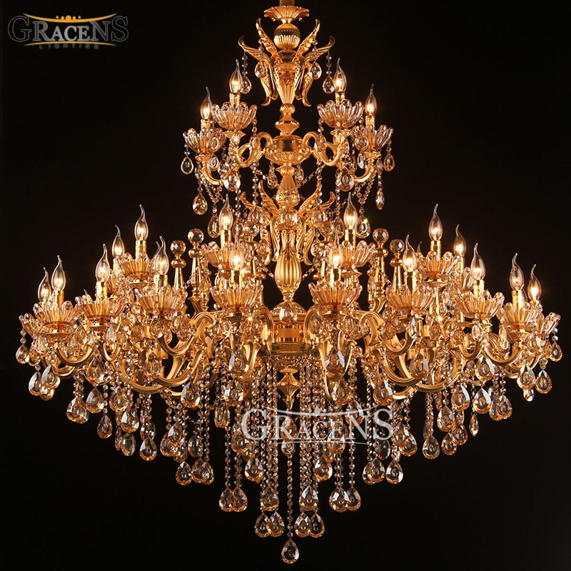 Large Royal Golden Crystal Chandelier Lamp Lustres Cristal