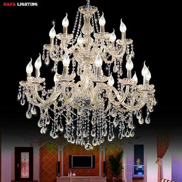 Large foyer modern font b chandelier b font Stair Long candle crystal font b chandelier b