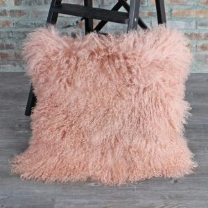 Light Pink Mongolian Lamb Fur Pillow font b Cover b font Double Sides Decorative Pillows font