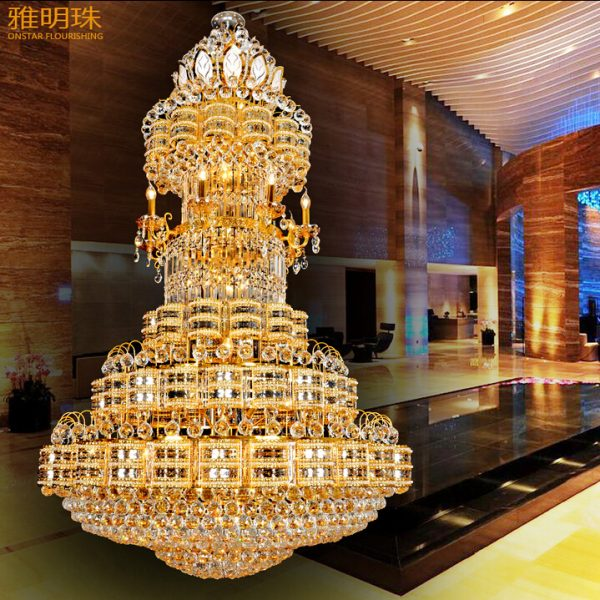 Luxurious font b chandeliers b font compound floor villa living room lamp droplight gold bronze bedroom