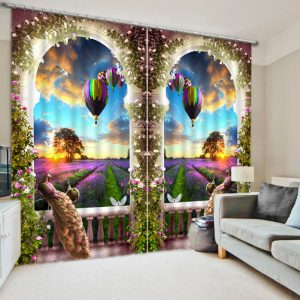 Luxury Chinese Modern Hot air Balloon Lavender D Blackout Window font b Curtains b font For
