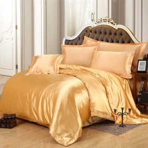 Luxury Satin Silk Bedding Sets font b Duvet b font font b Cover b font Flat