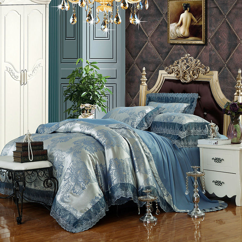 duvet luxury silver sets king bedding jacquard silk cotton bed queen border lace covers pattern gold bedroom satin linens room