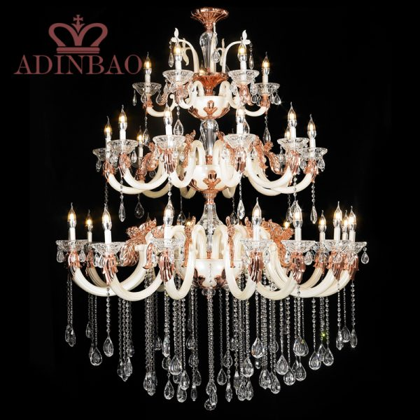 Luxury large  tiers crystal font b chandelier b font pearl white color font b chandelier