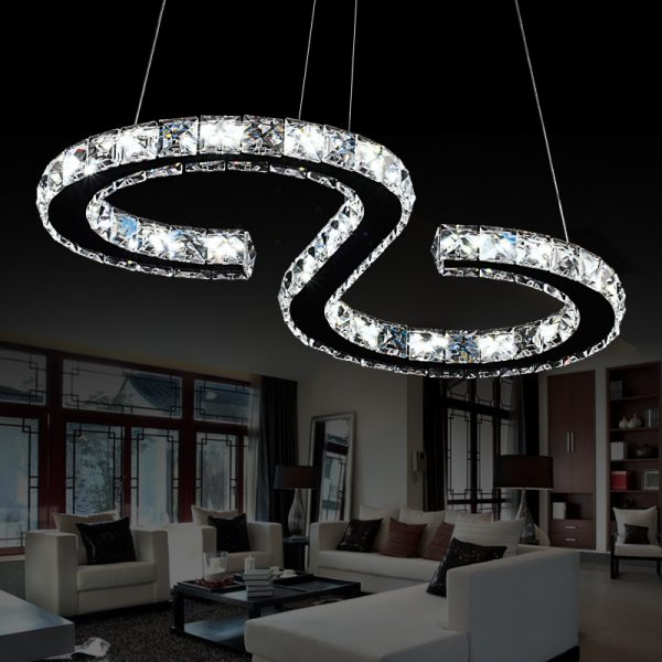 Modern Chrome font b Chandelier b font Crystals Diamond Ring W LED Lamp Stainless Steel Hanging