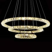 Modern LED Diamond Ring font b Chandeliers b font Chrome Mirror Finish Stainless Steel Room Hanging