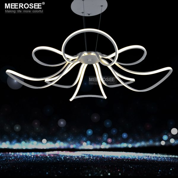 Modern LED font b Chandelier b font Light White Acrylic Flower Hanging Drop Lamp For Dining