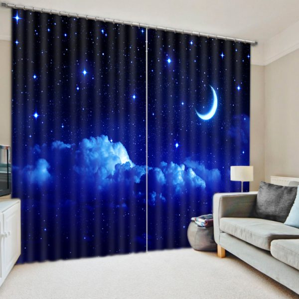 Modern Luxury Fantasy Moon Star Night D Blackout Window font b Curtains b font For Kids