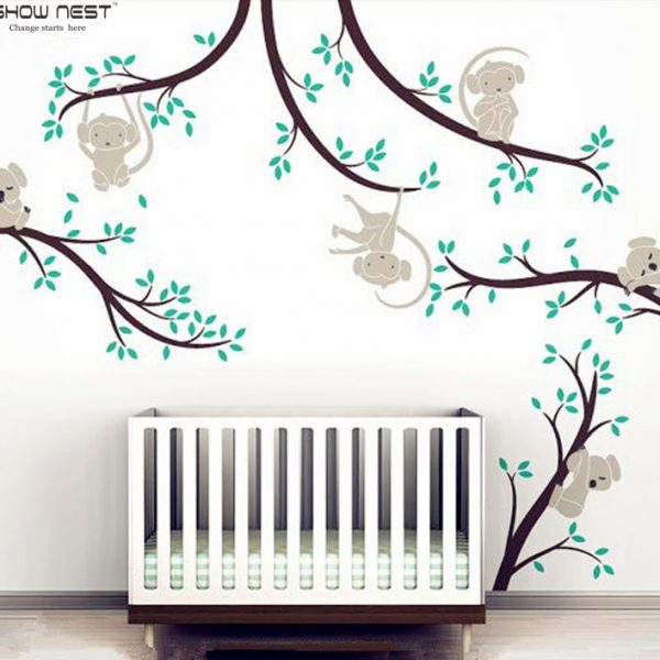 Monkey And Koala Tree Branches font b Wall b font font b Sticker b font Home