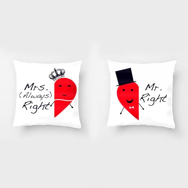 Mr Right And Mrs Always Right Radish Cotton Linen Square Throw Pillow Case Wedding Decorative font