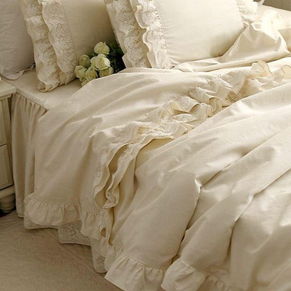 New luxury bedding set Alec high grade high density cotton Satin bedding Embroidered Lace Ruffle font