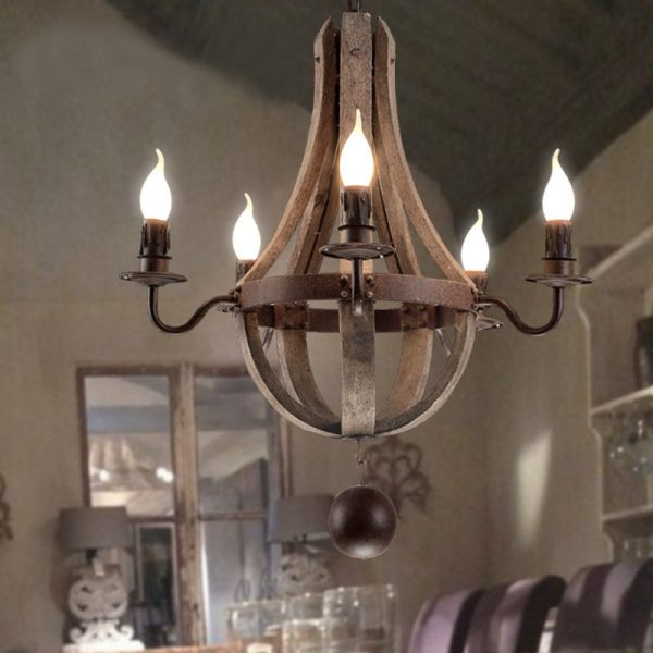 New style American personality retro club cafe font b chandelier b font Wooden light creative restaurant