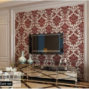 Non woven flocking european style bedroom living room TV setting wall paper d velvet font b