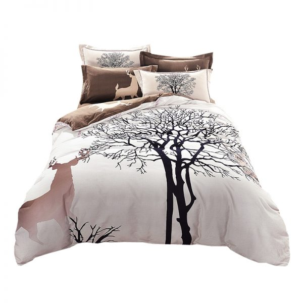 Papa Mima fresh style trees deer bedlinens high quality sanding cotton fabric Queen King size font