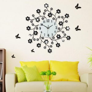 Pastoral Flower Iron Rhinestone Living Room Bedroom Watch Clocks Large Decorative font b Wall b font