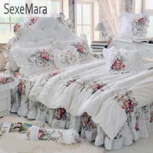 Pastoral Princess White Bedding Set Luxury pcs Printing Ruffles font b Duvet b font font b