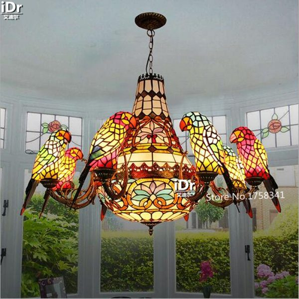 Pastoral parrot lamp headlights European project long living room lights Villa Restaurant font b Chandeliers b