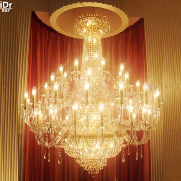Penthouse floor living room floor lamp headlights villa project in the long staircase crystal lamps gold