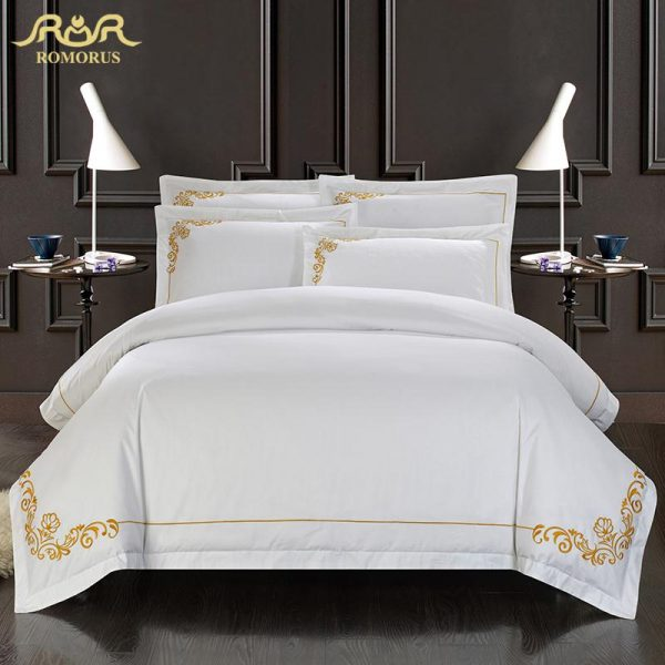 ROMORUS  Cotton Tribute Silk Bedding Set White Embroidered Hotel font b Duvet b font font