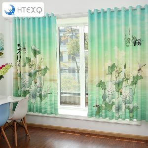 Romantic lotus Floral Chinese style Door Window font b Curtain b font for bedroom Drape Panel