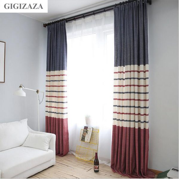 Secrect stripe print poly cotton blend window font b curtains b font high quality good black