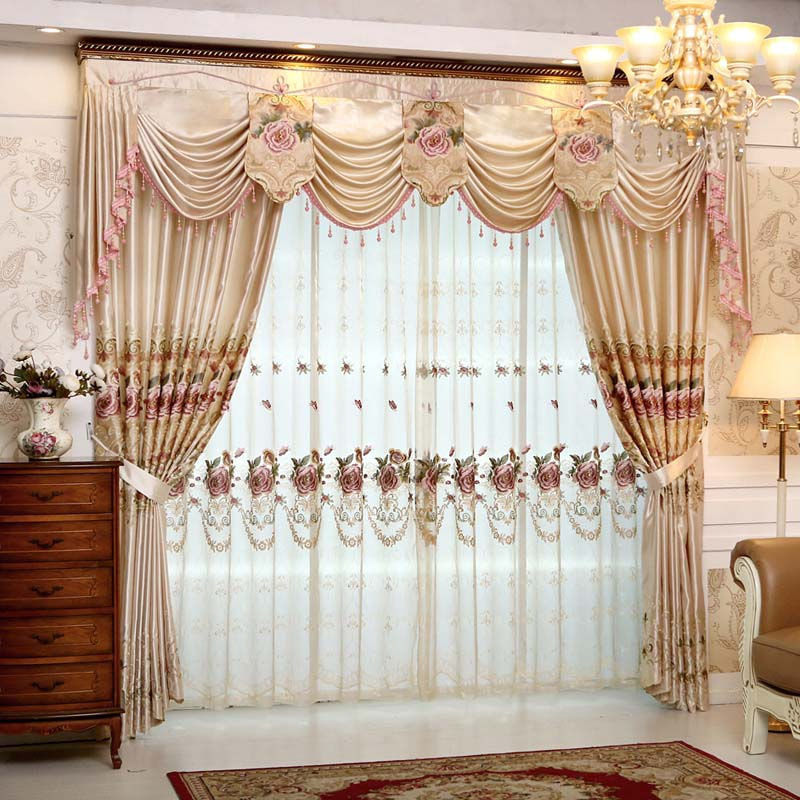 Set Luxury Curtains For Living Room With Valance European Style Embroidered