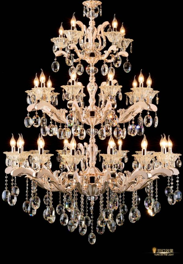 Shopping mall Large gold font Chandelier font Crystal Lighting for Hotel