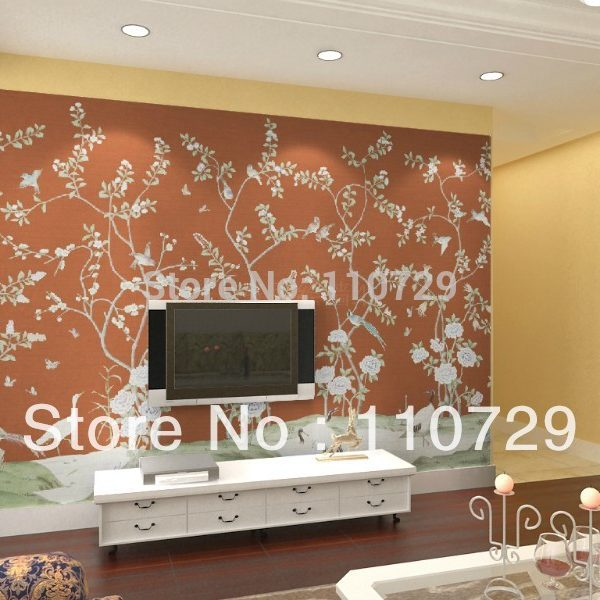 Southeast asia style Hand painted silk font b wallpaper b font painting flower with bird hand