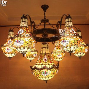 Spot Multi headlights luxury hotel clubs hall living room villa project large wrought iron lamp font