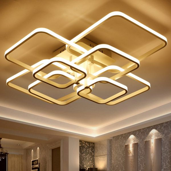 Square Circel Rings font b Chandelier b font For Living Room Bedroom Home AC V Modern